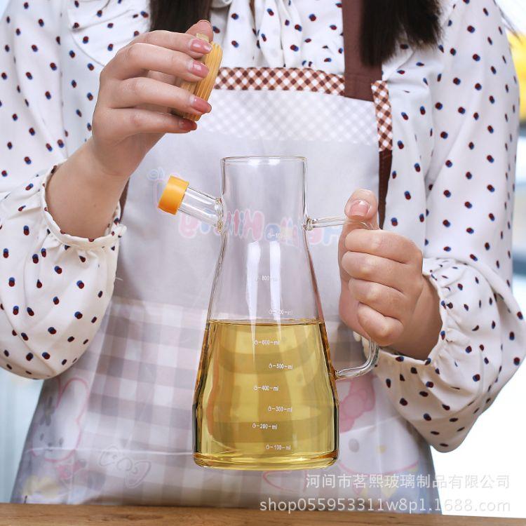 厂家直销高硼硅玻璃油壶耐热带刻度玻璃杯厨房用品调味油壶