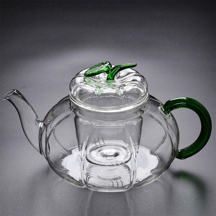 耐热玻璃茶壶三件式过滤绿叶南瓜壶 耐高温花茶壶玻璃茶具煮茶壶