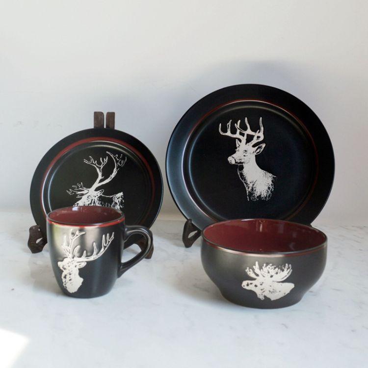黑底白麋鹿系列杯碗盘陶瓷餐具套装  圣诞欧美风创意陶瓷杯具套装