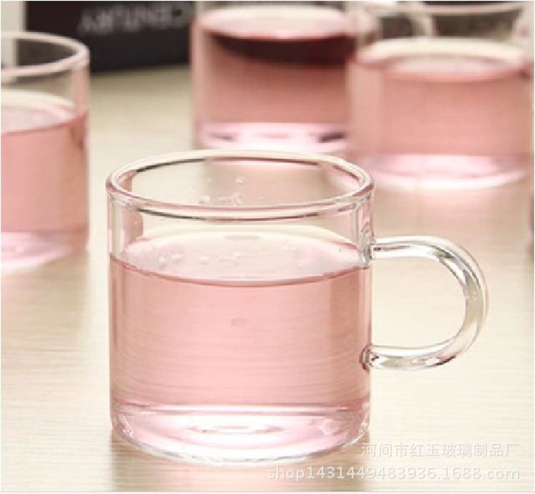 直销无铅 耐热玻璃茶具玻璃杯 功夫茶具小把杯 单层直身玻璃茶杯