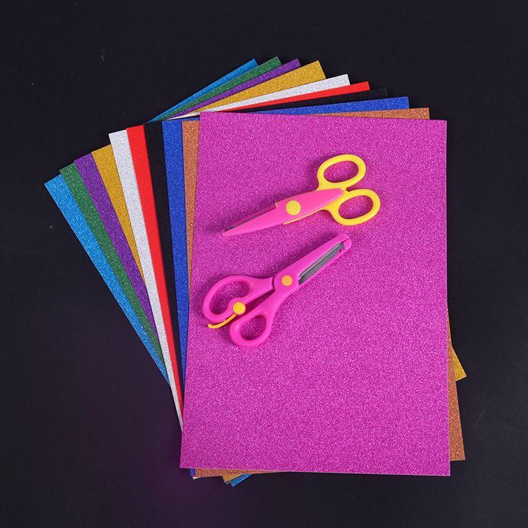 厂家直销A4撒金纸幼儿园手工diy材料闪光卡纸亮粉金葱粉纸批发