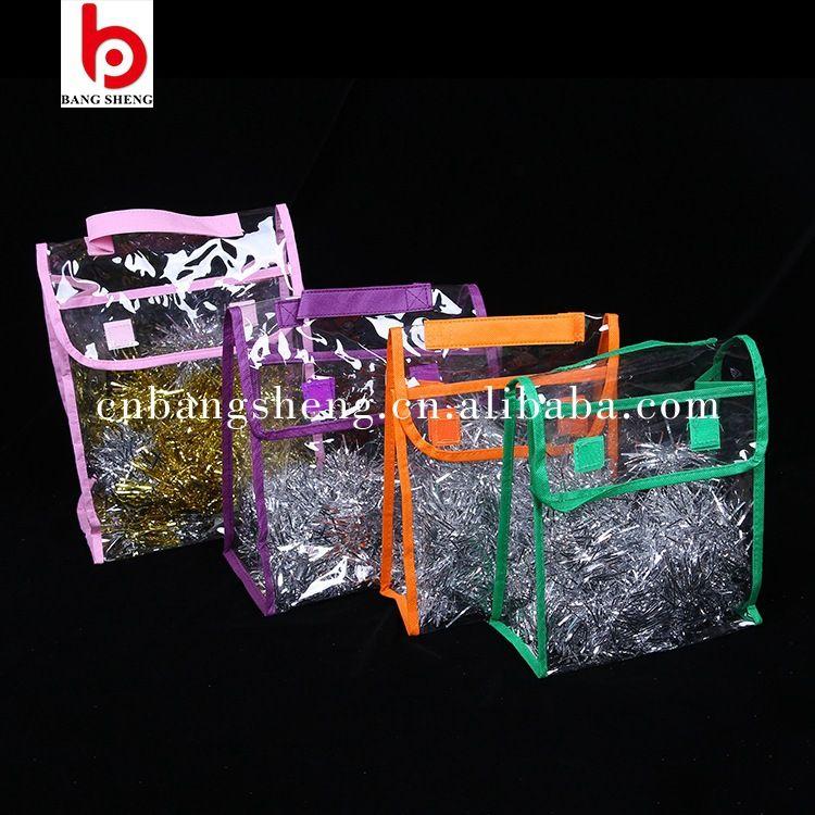 PVC手提收纳袋 沾粘式透明日用品包装手提袋 化妆品套装包装袋