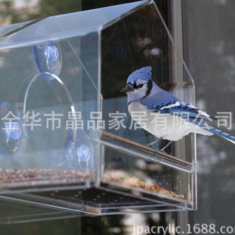 工厂直销窗户吸盘式透明亚克力喂鸟器 亚克力鸟喂食器
