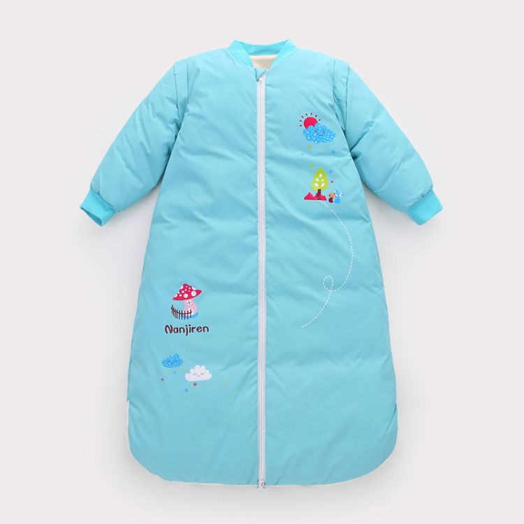 婴儿睡袋 新生儿童防踢被 冬季男女宝宝羽绒棉睡袋 冬款抱服可拆