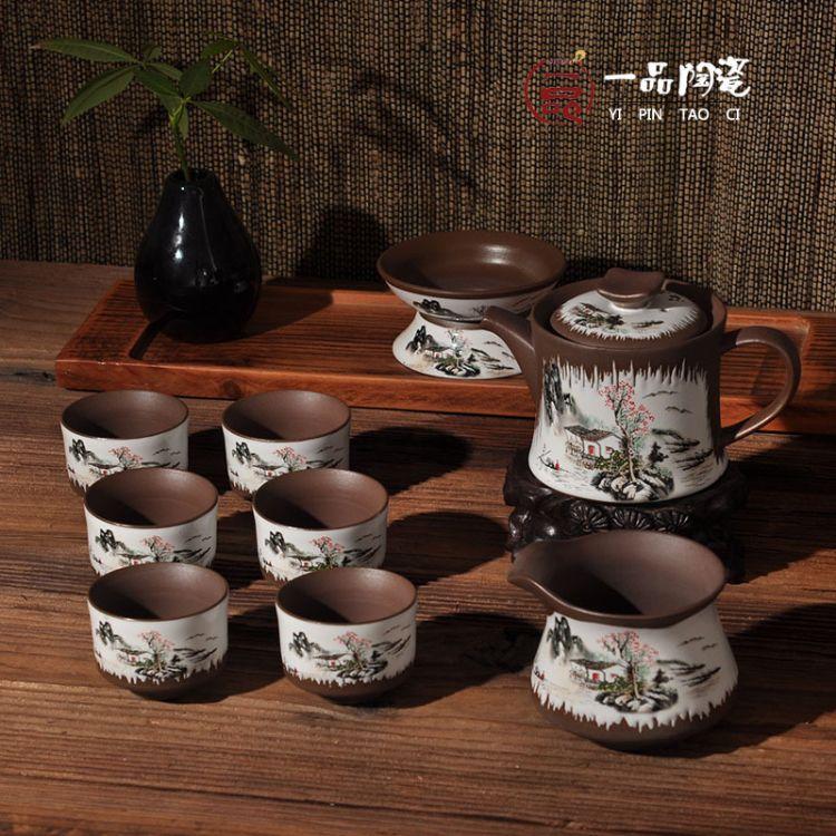 厂家批发茶具古陶 粗陶 半陶 精陶 陶艺茶具青花瓷茶具 德化茶具