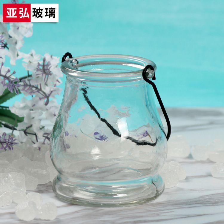 水培玻璃花瓶 带提手玻璃烛台蜡烛玻璃杯 插花玻璃花瓶