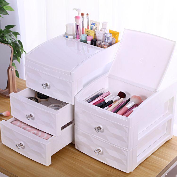 桌面化妝品收納盒 梳妝臺護膚品抽屜式防塵塑料整理箱首飾置物架