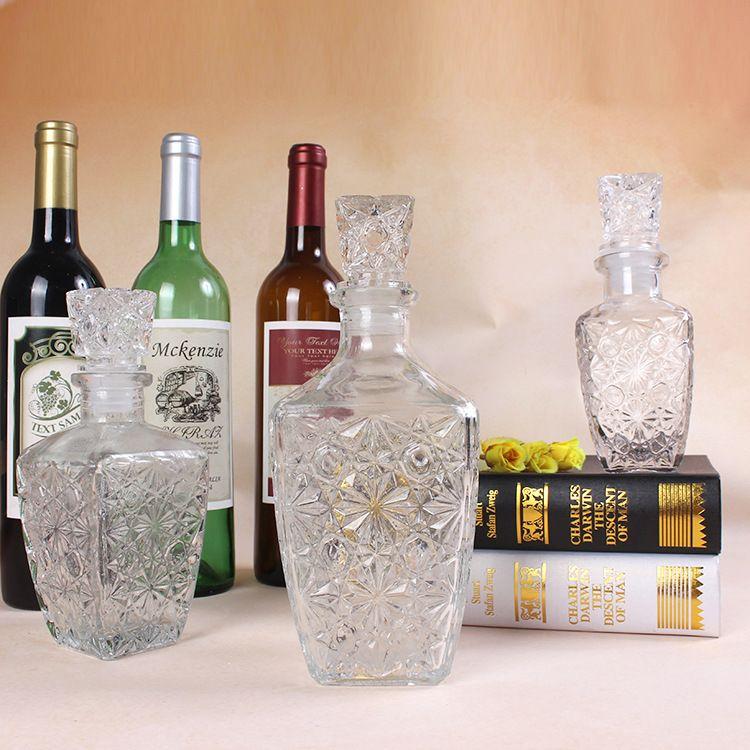 直销高档钻石酒瓶方钻酒瓶250ml500ml800ml自酿葡萄酒玻璃瓶
