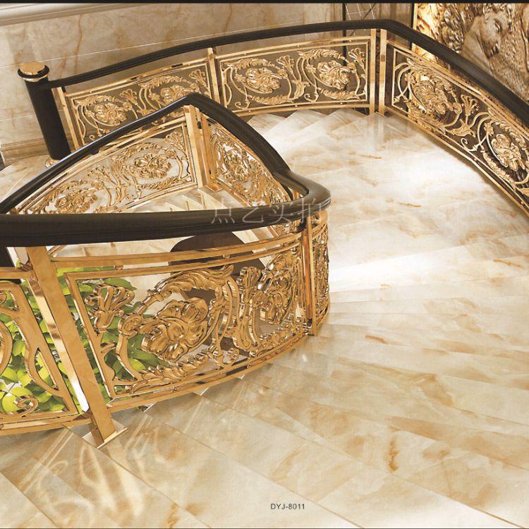 广东铜艺楼梯扶手 红古铜楼梯立柱订做 佛山别墅楼梯定制价格