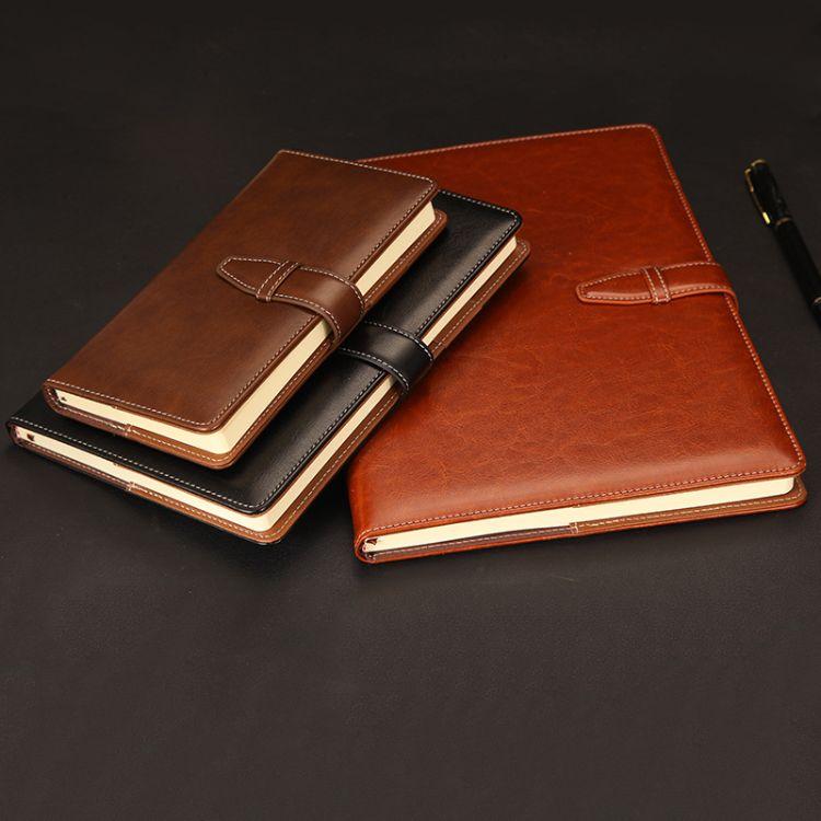 厂家定做商务笔记本文具专业定制印制LOGO带扣变色仿皮PU记事本子