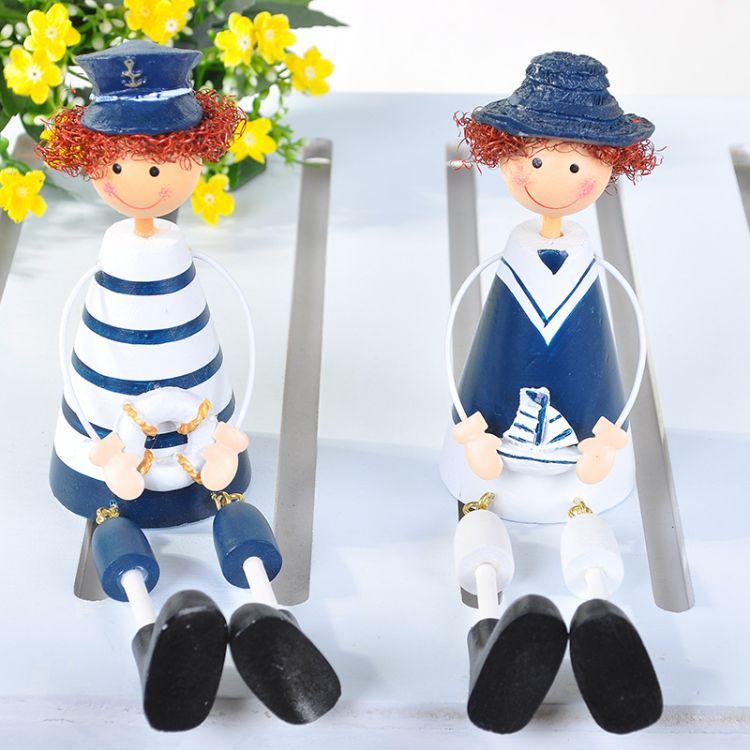 厂家直销创意家居小礼品工艺摆件 海军吊脚娃娃木质工艺品批发