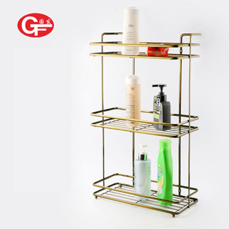 国发卫浴五金置物架 三层创意日用收纳架 不锈钢浴室方形收纳架