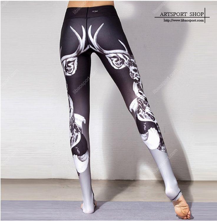 新款批发 紧身瑜伽裤印花 瑜伽服健身服运动跑步紧身裤瑜伽服