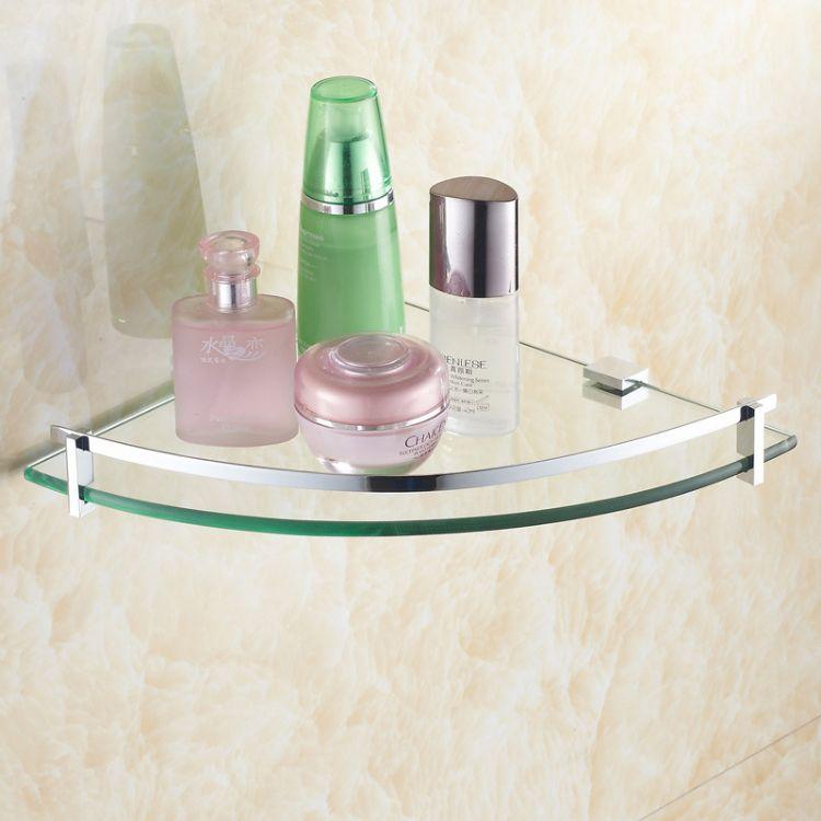 厂家直销 全铜钢化玻璃三角卫浴置物架 浴室角架 卫生间转角架