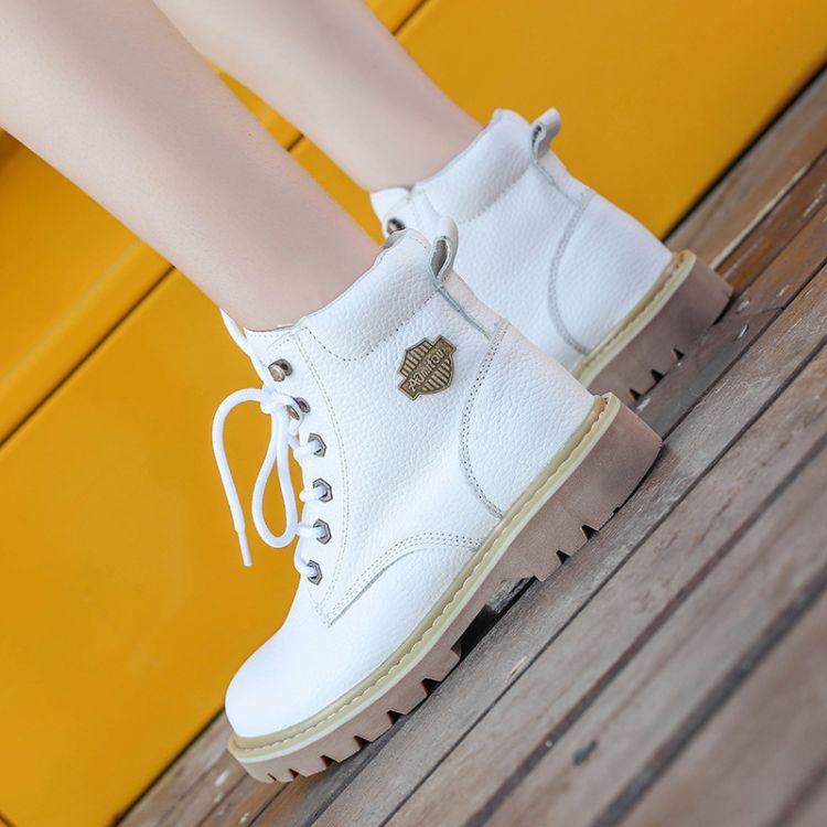 新款马丁靴中帮工装靴女靴机车靴高帮女鞋英伦皮鞋牛皮户外男靴潮