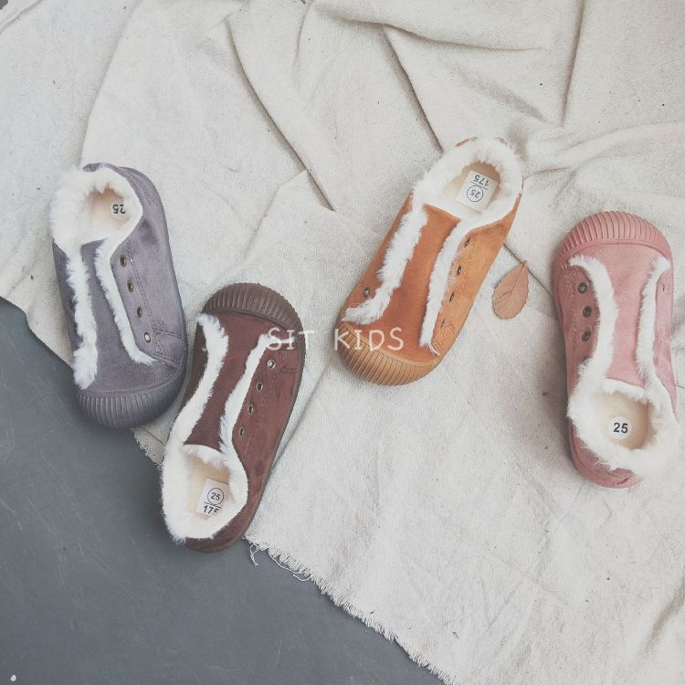 2018韩版时尚儿童童鞋毛毛板鞋一脚蹬