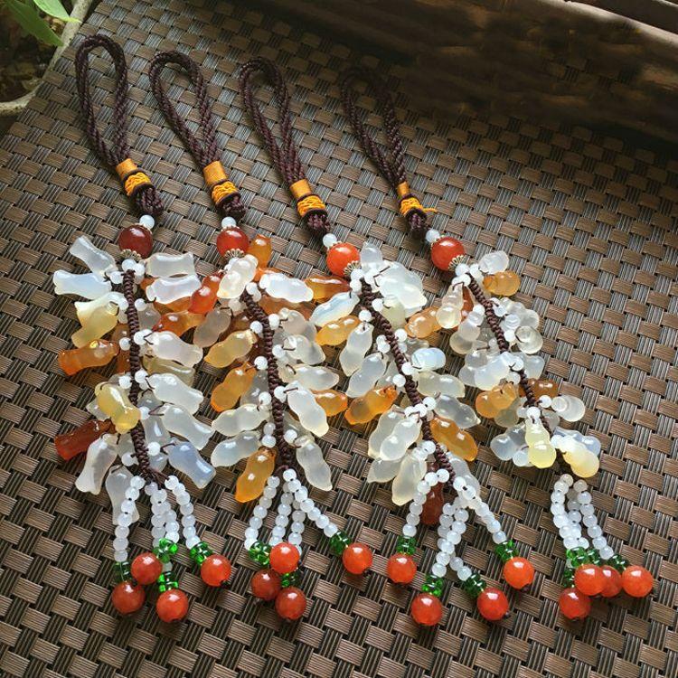 天然玛瑙玉髓车挂批发 汽车内挂饰装饰品车挂玉器宝石工艺品