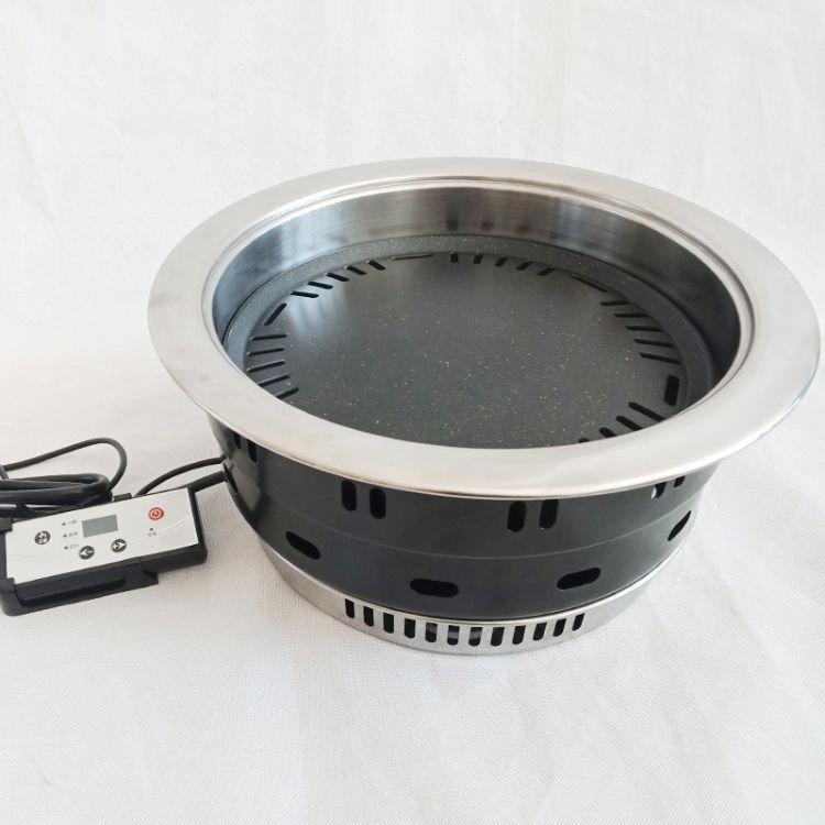 上排烟圆形电烤炉红外线微晶板烤肉炉镶嵌式韩式烤肉炉韩国烧烤炉