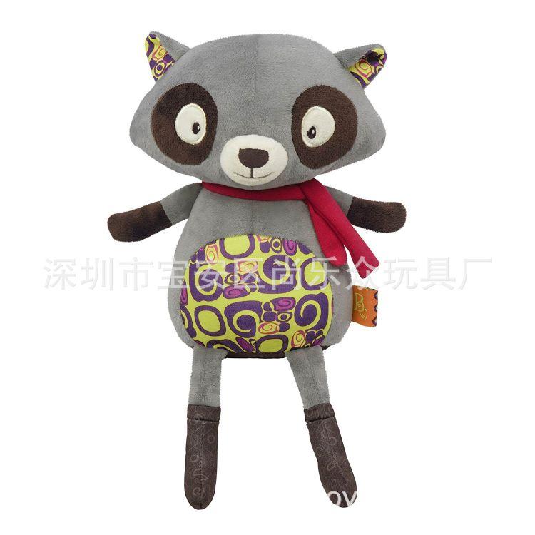 厂家定制新款毛绒玩具红色围巾小浣熊企业吉祥物可来图打样批发