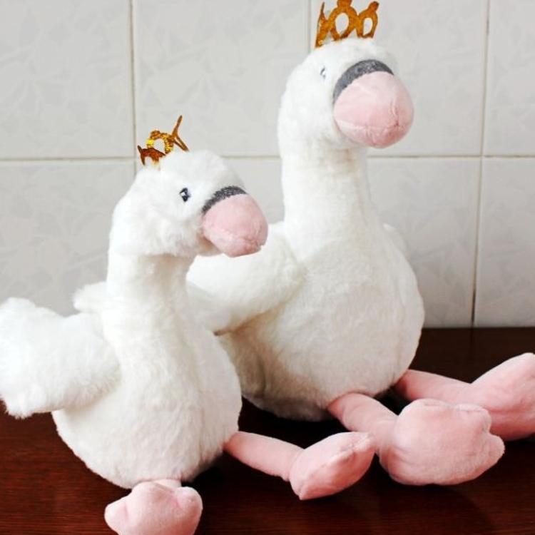 火烈鸟白天鹅公仔皇冠鸟毛绒玩具抓机娃娃儿童玩偶