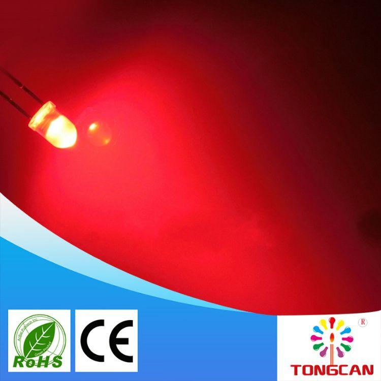 优质供应4mm圆头有边红发红雾状led直插灯珠F4红光媲美亿光