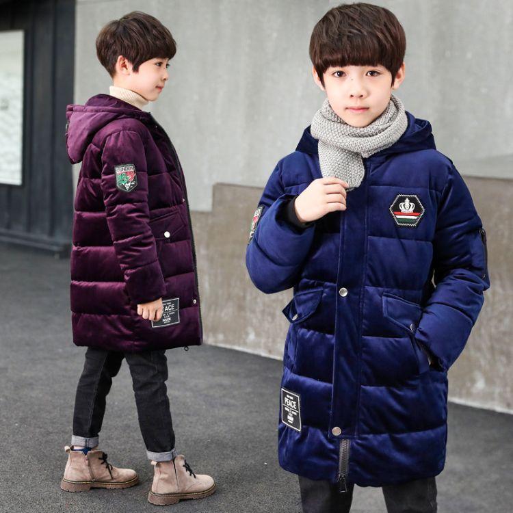 冬季中大童男童棉衣保暖2018新款儿童装青少年长款加厚金丝绒棉服