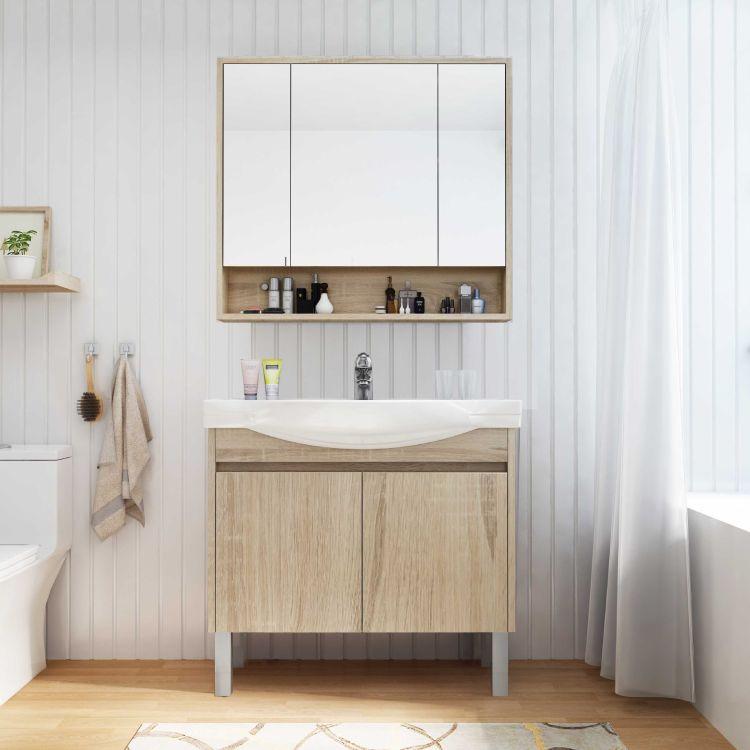 落地柜 整体卫生间 洗手盆组合柜 实木现代免漆浴室柜定制