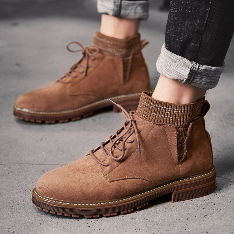 马丁靴男潮鞋男鞋高帮鞋男士袜子鞋中帮雪地靴子鞋子冬季加绒棉鞋