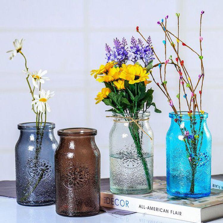 玻璃花瓶简约时尚彩色玻璃花瓶插花瓶干花玻璃花瓶客厅装饰花器