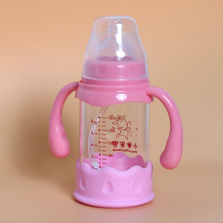 热销婴儿宽口径玻璃奶瓶 带手柄防摔玻璃奶瓶  厂家直销优质货源