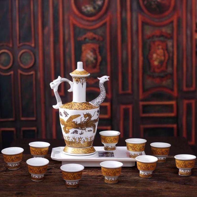 景德镇陶瓷酒具礼品瓷 11头陶瓷酒具 商务婚庆用瓷厂家直销黄金龙