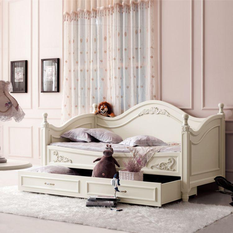 批发欧式田园儿童床带拖床贵妃塌简约现代客厅贵妃椅小户型单人床