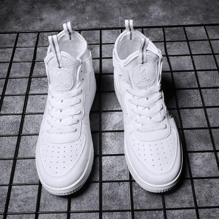 空军一号男鞋秋季高帮小白鞋男士白色嘻哈潮鞋子百搭高帮运动板鞋