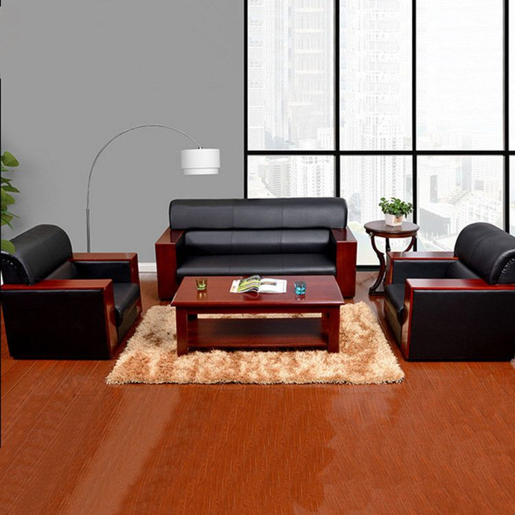 上海现代真皮商务办公沙发接待会客休闲三人位沙发茶几组合