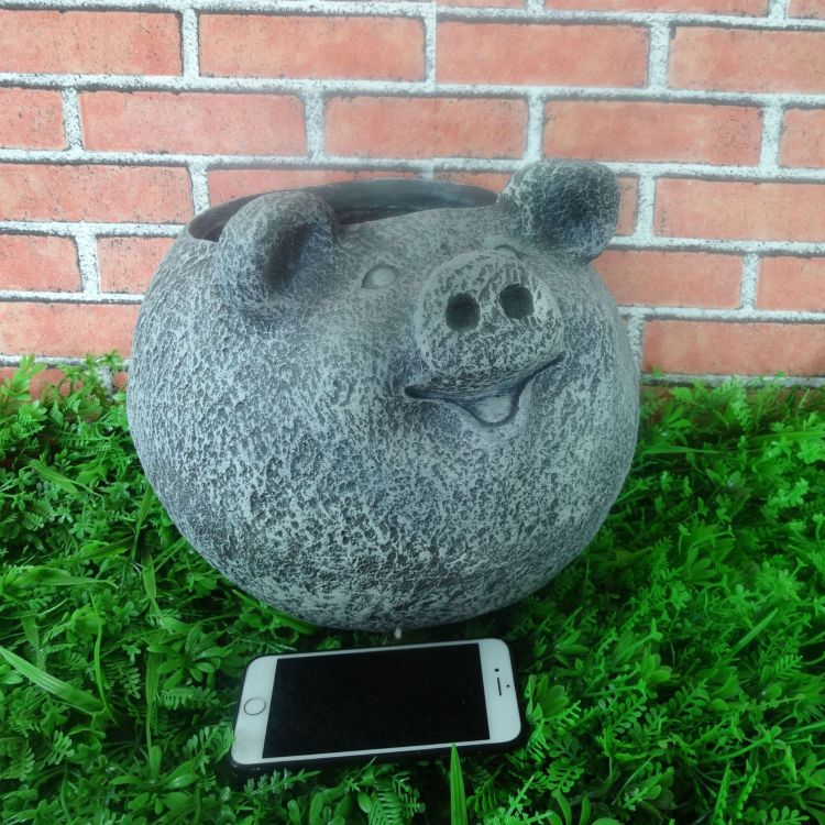 树脂氧化镁摆饰花盆花园可爱猪工厂直销源头