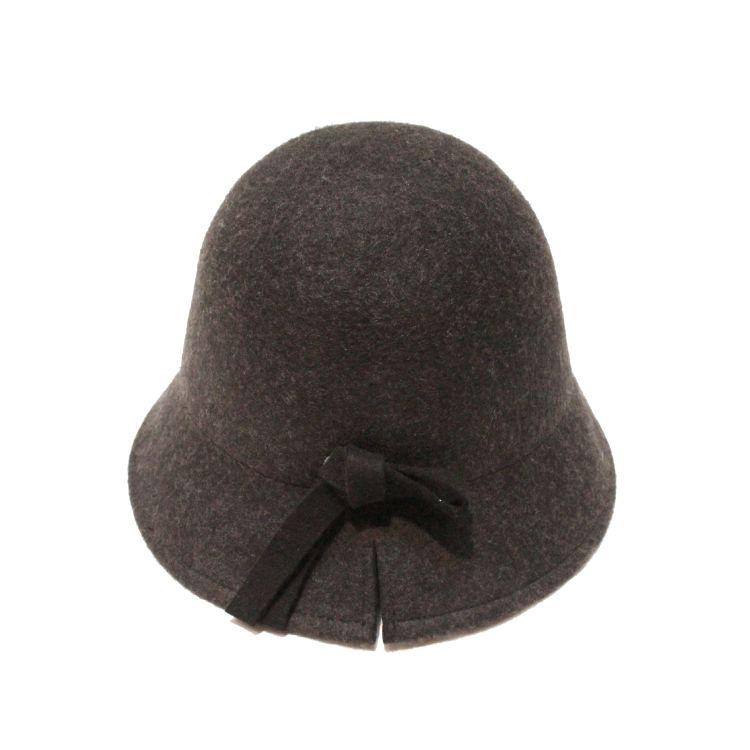 秋冬澳洲羊毛 法式復古 高級混色可折疊圓頂鐘形短檐羊毛呢小禮帽