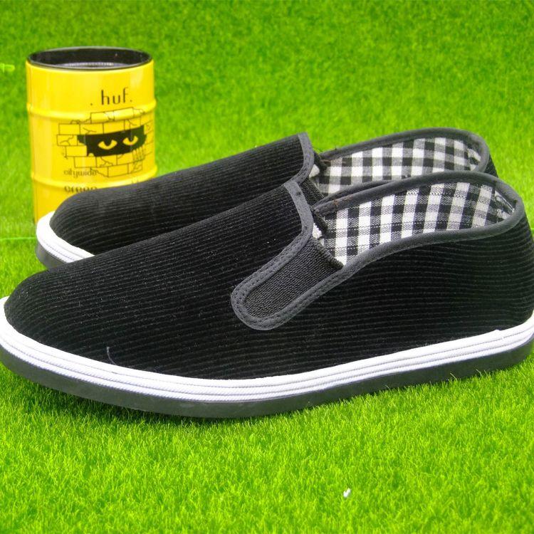 厂家直销条绒布鞋 经典千层底灯芯绒仿轮胎底黑布鞋 老北京布鞋