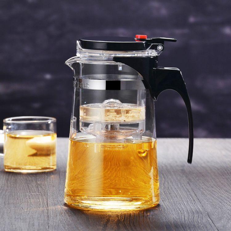 新款欧式风格玻璃壶 PC内胆材质过滤玻璃壶 光洁透明玻璃杯批发