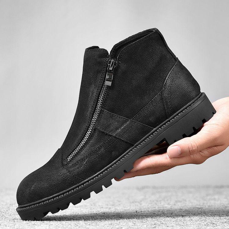 冬季男鞋高帮保暖切尔西马丁靴百搭中帮加绒工装真皮英伦风军靴子