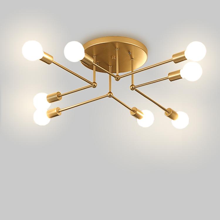 2018新款跨境创意吸顶灯铁艺烤漆弯管吸顶灯个性卧室灯饰家居灯具