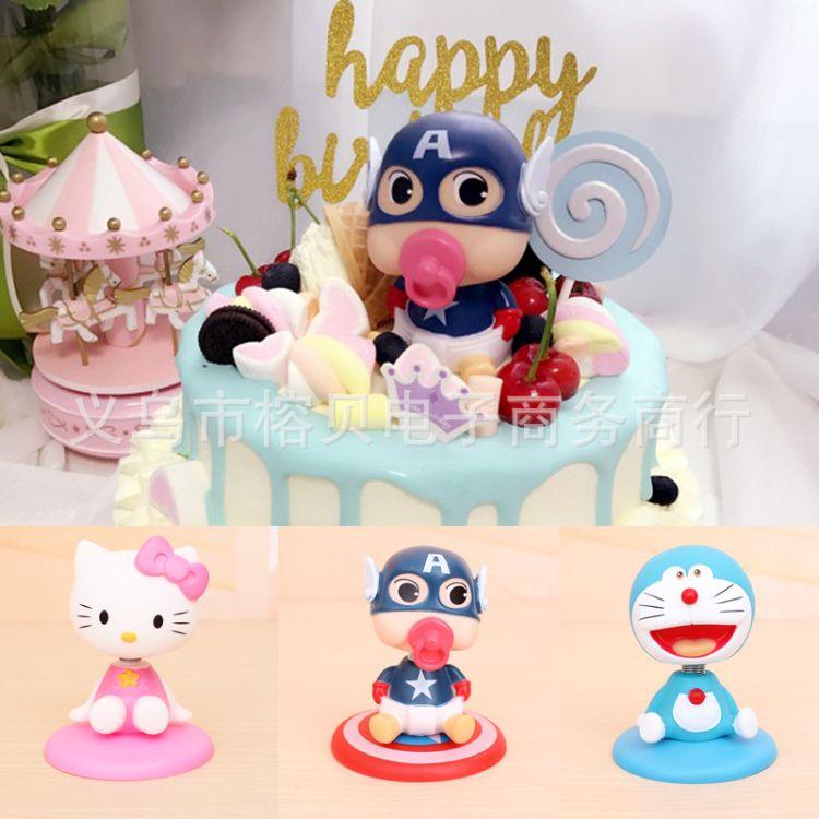 摇头娃娃蛋糕装饰摆件 摇头公仔蛋糕摆件批发 烘焙蛋糕装饰摆件
