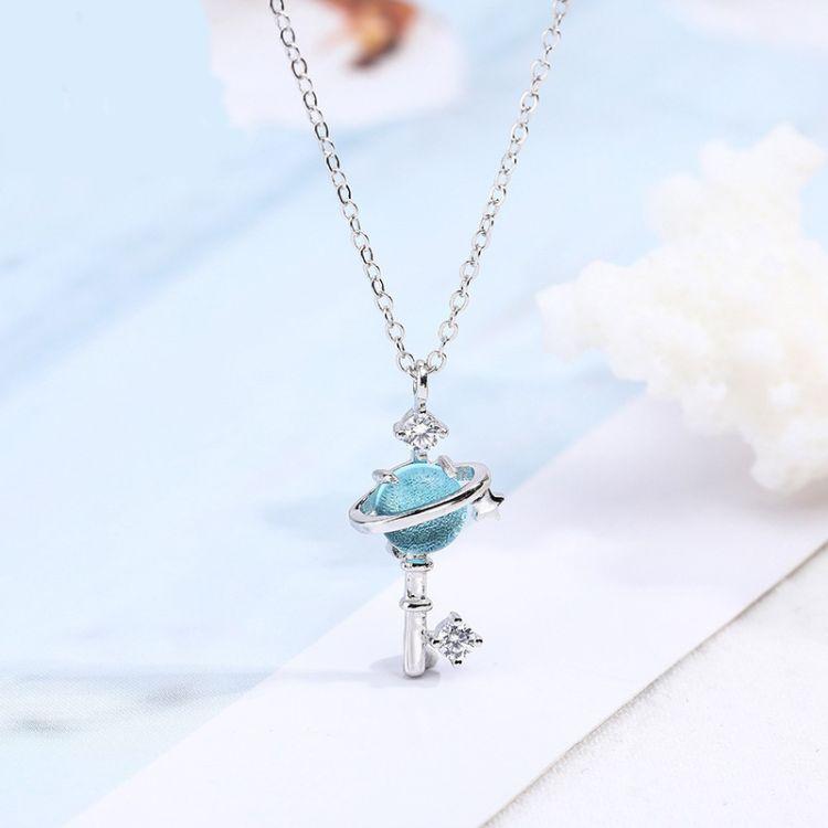 S925纯银 梦幻星空小清新锁骨链 blue蓝色星球项链简约少女心饰品