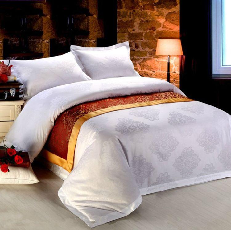 高档酒店宾馆床上用品纯棉白色60支贡缎提花四件套批发 厂家直销