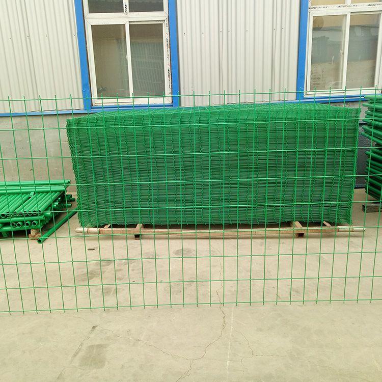 护栏网厂家供应园林铁路防护网栅栏 浸塑双边丝养殖护栏网