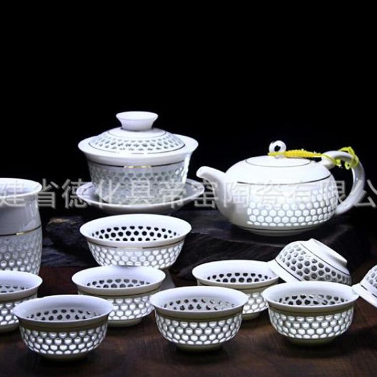 爆款热销 高档茶具陶瓷功夫茶具 青花玲珑镂空薄胎茶具LOGO定制
