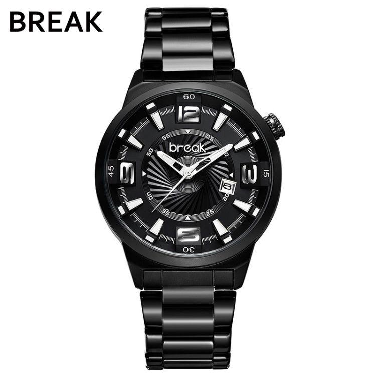 BREAK时尚韩版腕表 简约潮流运动休闲防水夜光钢带石英手表 5109