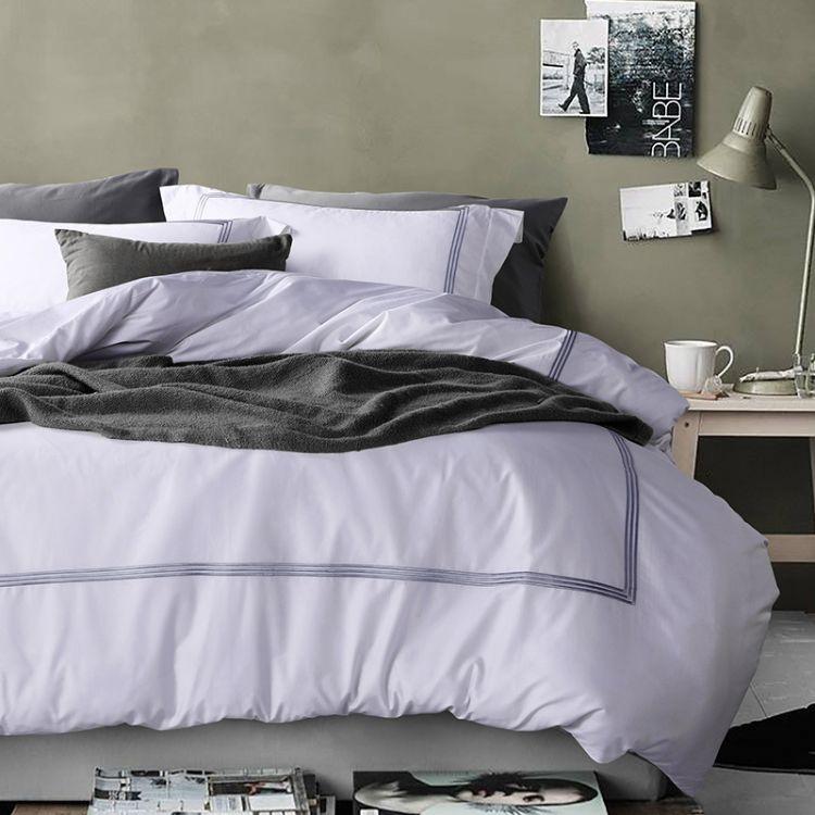 厂家直销 床上用品酒店布草 简约绣框酒店四件套 新品