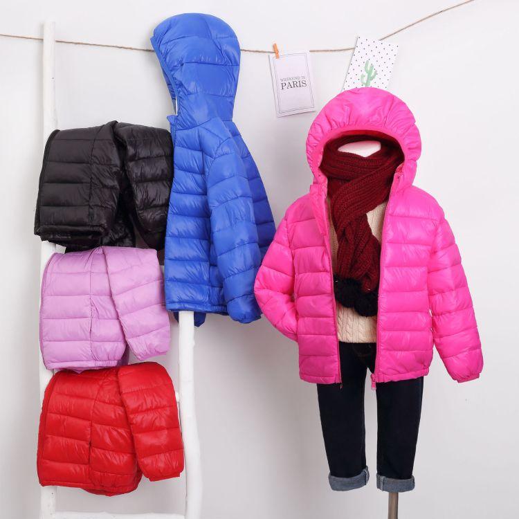 厂供冬装新款儿童羽绒服大中小男女宝宝轻薄款纯色羽绒外套厂直销