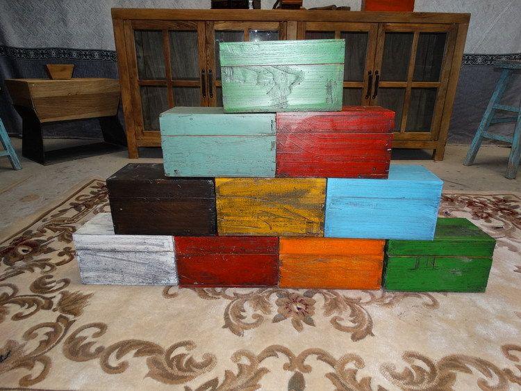 厂家直销老木新做彩绘彩漆手工首饰盒礼品工艺品化妆品艺术品木盒