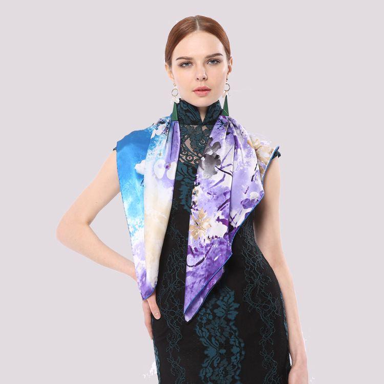 秋冬款优雅女100%真丝素绉缎90cm方巾中国风复古渐变印花丝巾披肩